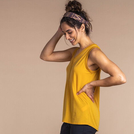 Asha V-Neck Tank Daal Yellow