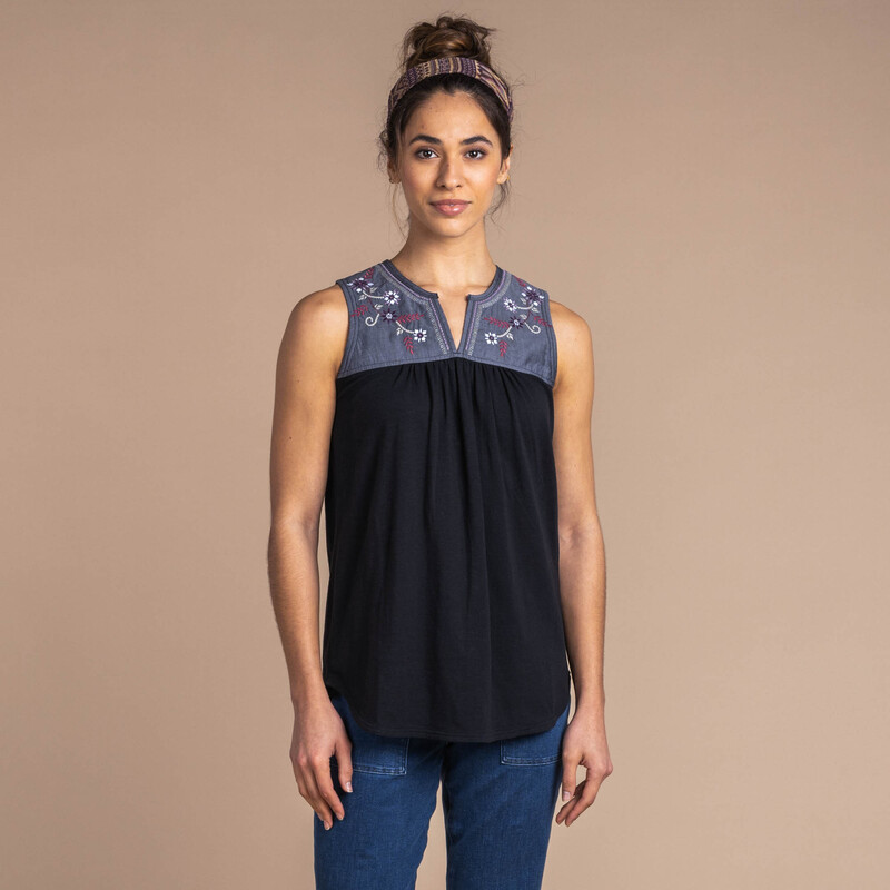 Shaanti Embroidery Top - Black