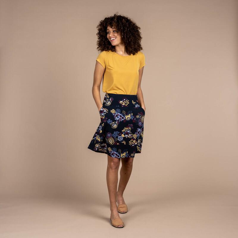 Padma Pull-On Skirt - Black Print