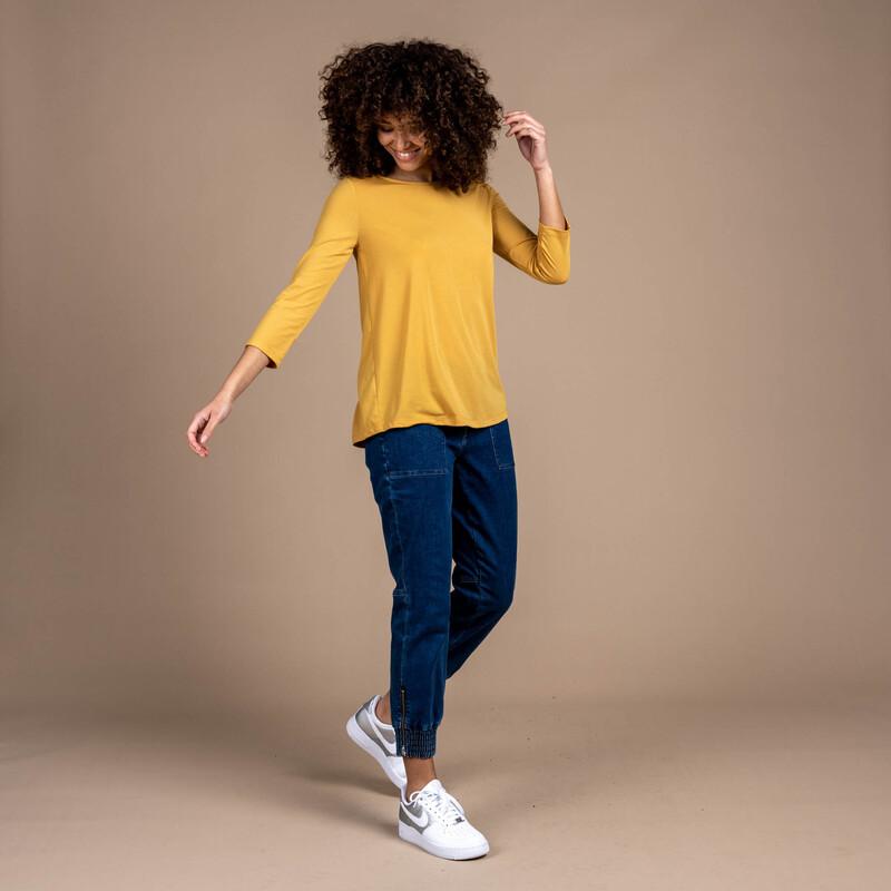 Asha 3/4 Sleeve Top - Daal Yellow