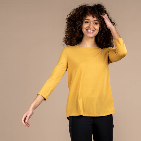 Asha 3/4 Sleeve Top Daal Yellow