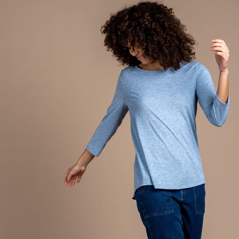 Asha 3/4 Sleeve Top - Tilicho Blue
