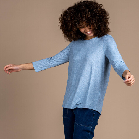 Sherpa Adventure Gear Asha 3/4 Sleeve Top in Tilicho Blue
