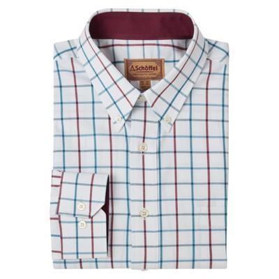 Brancaster Classic Shirt Bord/D Teal Wide