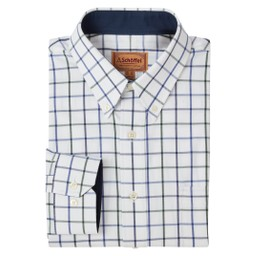 Schoffel Country Brancaster Classic Shirt in Racing Green/Navy Wide