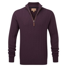 Schoffel Country Cotton Cashmere Cable 1/4 Zip Jumper in Aubergine