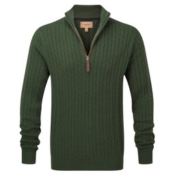 Schoffel Country Cotton Cashmere Cable 1/4 Zip Jumper in Racing Green