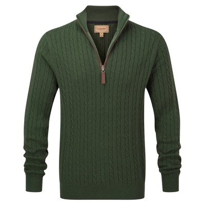 Cotton Cashmere Cable 1/4 Zip Jumper Racing Green