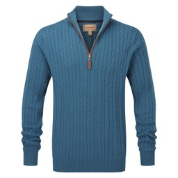 Schoffel Country Cotton Cashmere Cable 1/4 Zip Jumper in Dark Teal