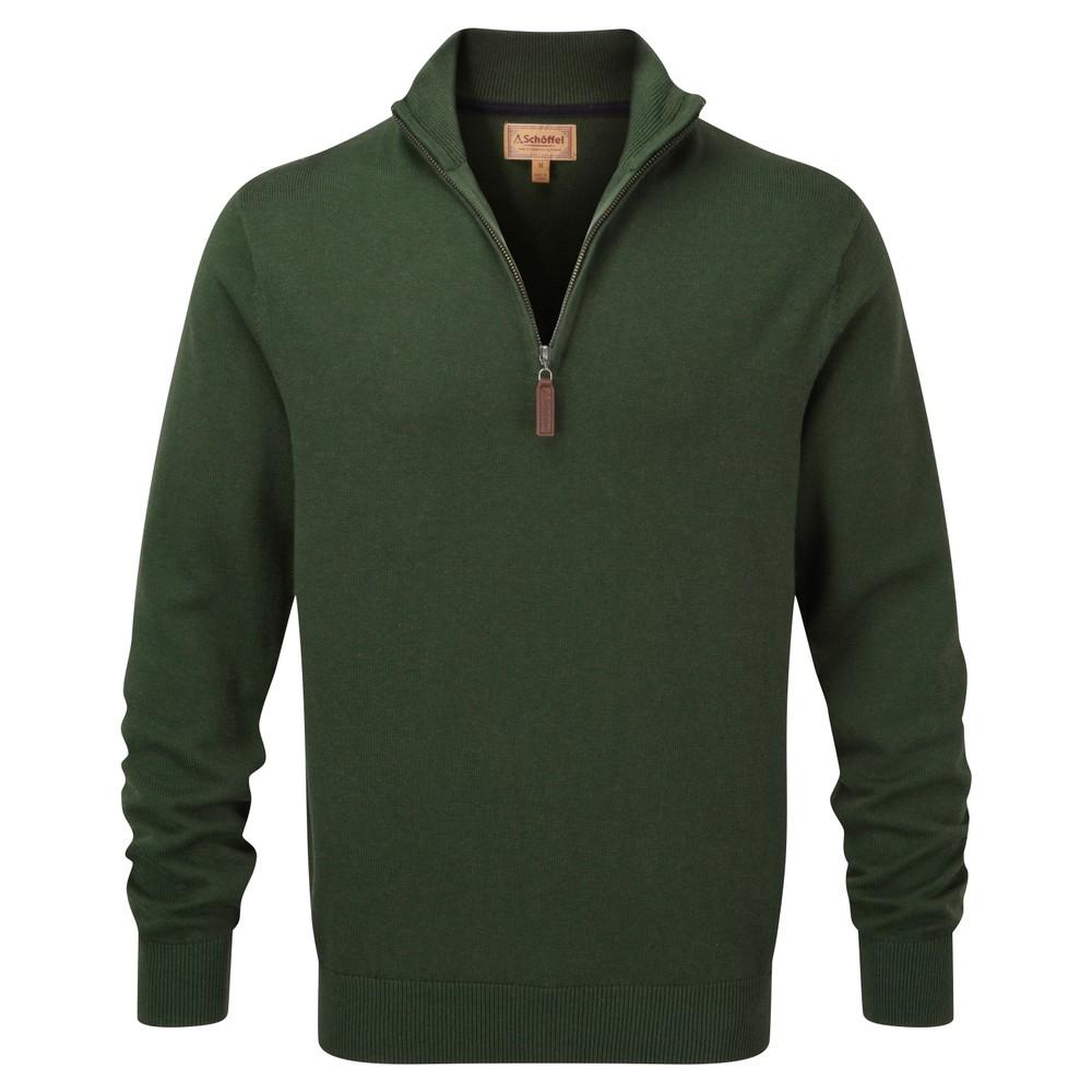 Cotton Cashmere 1/4 Zip Jumper Racing Green