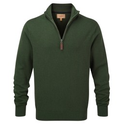 Schoffel Country Cotton Cashmere 1/4 Zip Jumper in Racing Green