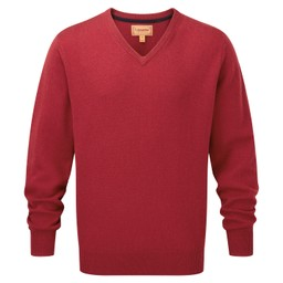 Schoffel Country Lambswool V Neck Jumper in Bordeaux