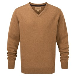 Schoffel Country Lambswool V Neck Jumper in Toffee