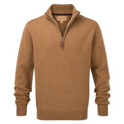Schoffel Country Lambswool 1/4 Zip Jumper in Toffee