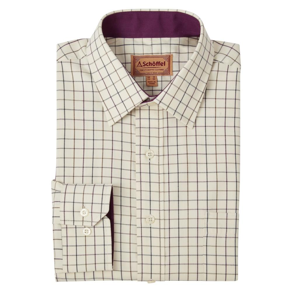 Burnham Tattersall Classic Shirt Aubergine Check