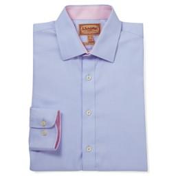 Schoffel Country Greenwich Classic Shirt in Light Blue Diagonal