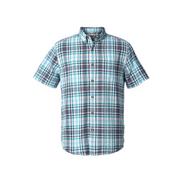 Royal Robbins Mid-Coast Seersucker Plaid L/S Shirt in Collins Blue