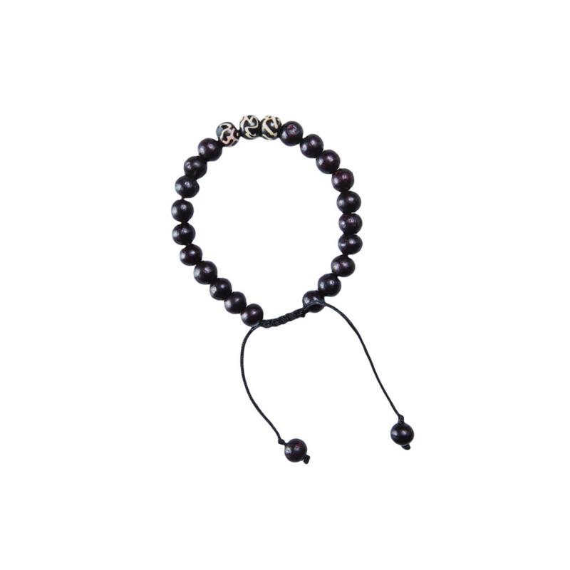 Mala-Armband mit drei Akzentsteinen - Black